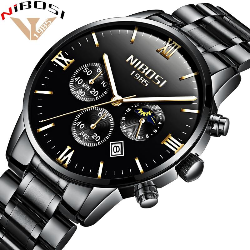 NIBOSI Luxury Watches Men Full Steel Band Clock Men Watch Men Sport Waterproof Watches Montre Homme 2018 Relogio Masculino Saat