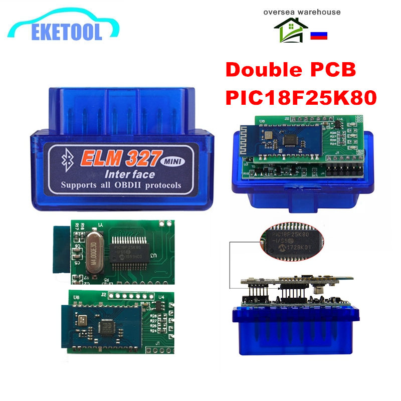 10pcs/Lot ELM327 V1.5 Double PCB PIC18F25K80 Chip Bluetooth ELM 327 Code Reader Works Android OBD2 Diagnostic Tool