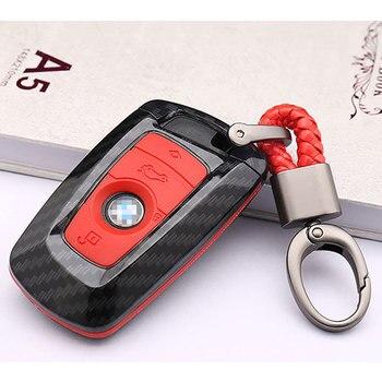 Ceyes 車スタイリング自動炭素繊維キーカバーシェルケース Bmw 新 1 3 4 5 6 7 シリーズ F10 F20 F30 スマート 3 ボタンアクセサリー