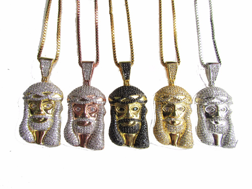 High quality 4 colors available Mens hip hop jewelry iced out bling Jesus face pendant necklace with box chain