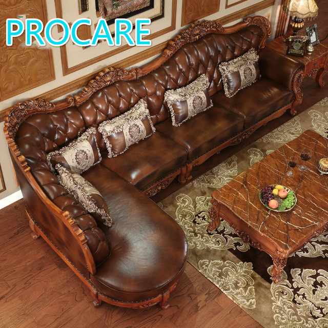 American Styl Esolid Wood L Shape Leather Sofa Set With
