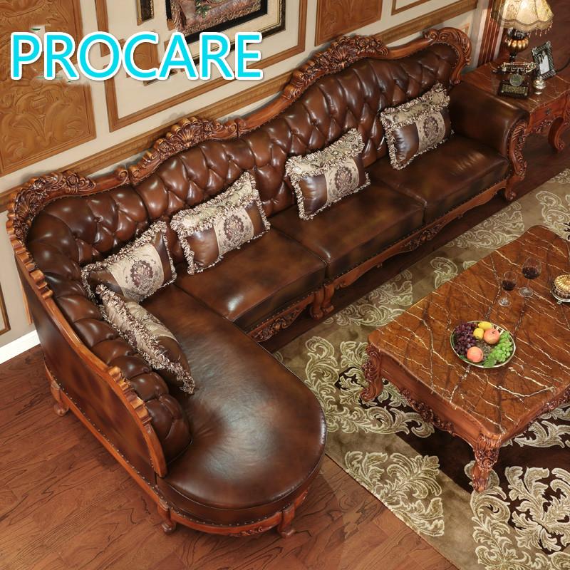 Amerikanischen Styl Esolid Holz L Form Ledercouchgarnitur Mit Carving Fr Wohnzimmer