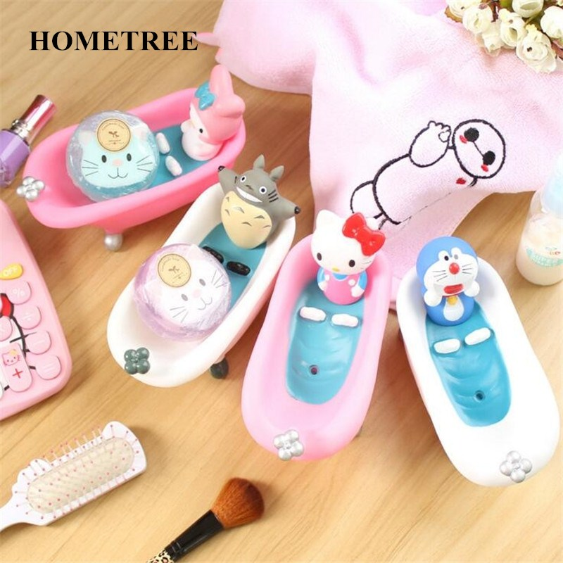 HOMETREE Creative Cute Cartoon Pink Cat Soap Dish Box Home