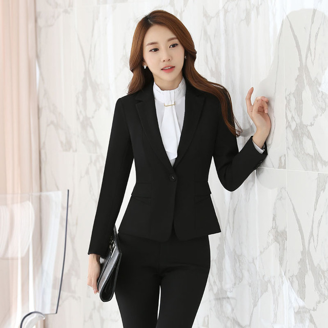 Plus Size 3XL 2016 Professional Autumn Winter Female Pantsuits Formal Uniform Design With Jackets + Pants Ladies Trousers Sets