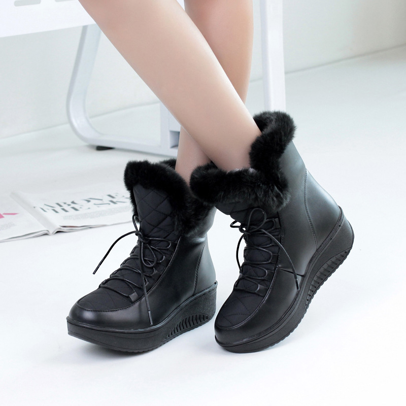 Lace up down PU women snow boots fashion warm plush women winter shoes fur platform rain ankle boots female new 2018 DBT1088 2017 new fashion genuine leather snow boots female winter platform ankle boots women zipper lace up boots