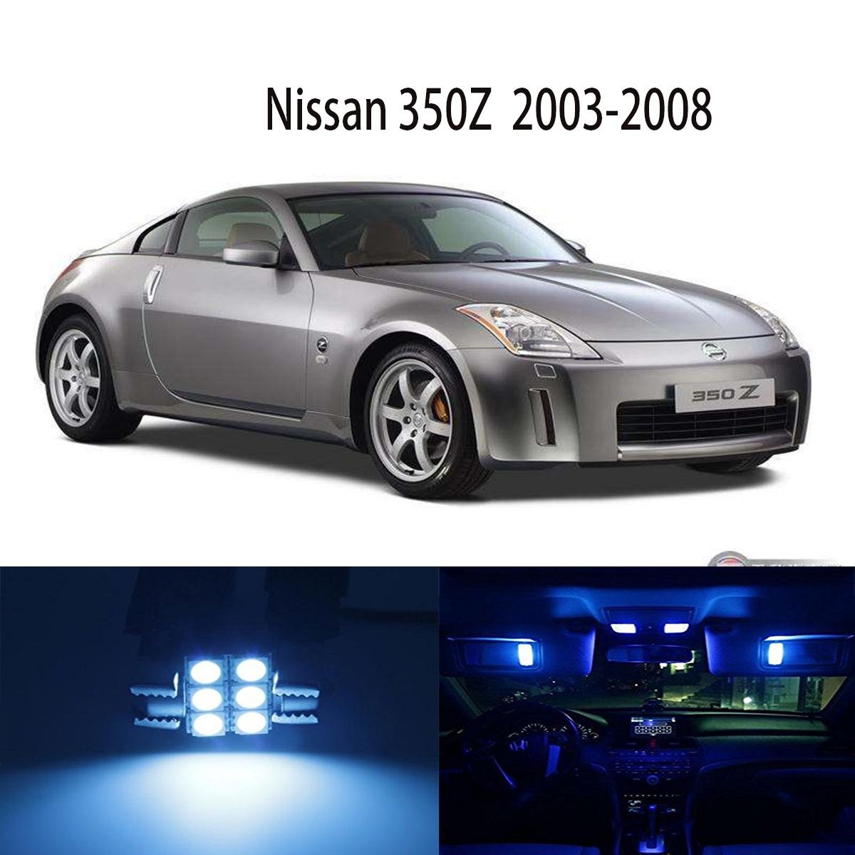 Popular nissan 350z interior buy cheap nissan 350z interior lots for nissan 350z z 2003 2008 full blue 5 lights smd led interior package kit vanachro Image collections