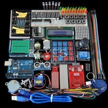 Kit iniciante para arduino uno r3, placa e suporte motor de passo/servo/1602 lcd/fio de ligação/uno r3