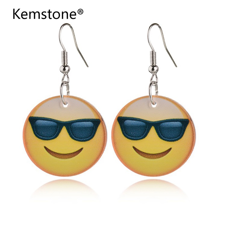 Kemstone Fashion Europe and America Simply Sunglasses Cool Expression Acrylic Smile Female Drop Earrings Accessories