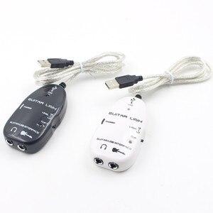Черный адаптер, электрическая гитара к USB интерфейсу, соединительный кабель, аудио адаптер для записи ПК/MAC
