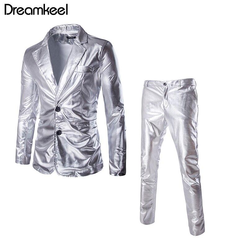 Goud Zilver Zwart Slim Smoking Formele Kleding Mannen Pak Sets Merk Blazer Toneelvoorstellingen Suit (jassen + Broek) Y
