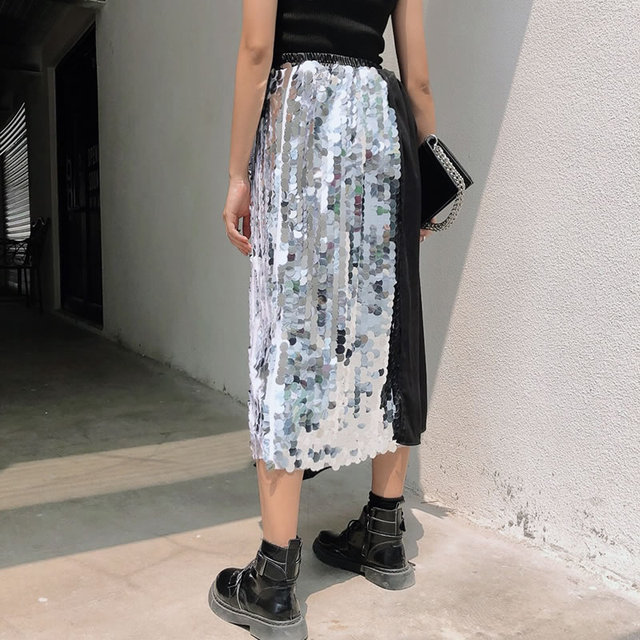 [XITAO] 2019 New Europe Casual Loose Asymmetrical Sequined Skirt Patchwork Button Elastic Waist Ankle-length Skirt ZQ1546 1
