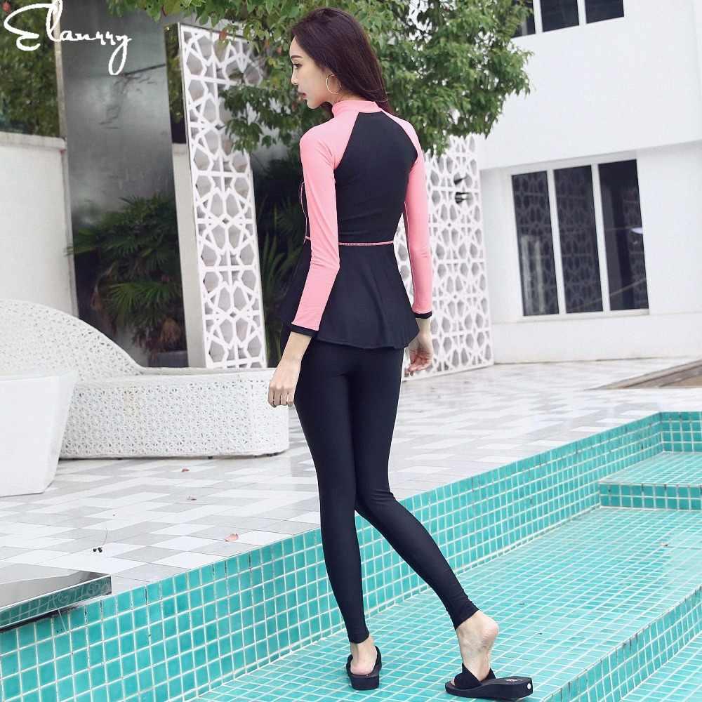 2019 новейший женский спортивный купальник из 4 предметов, лоскутные профессиональные летние купальные костюмы с длинными рукавами, длинные штаны, купальники, Майо
