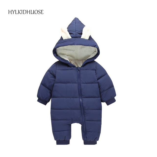b6fa229a771c HYLKIDHUOSE 2017 Winter Infant Rompers Newborn Jumpsuit Hooded Warm ...