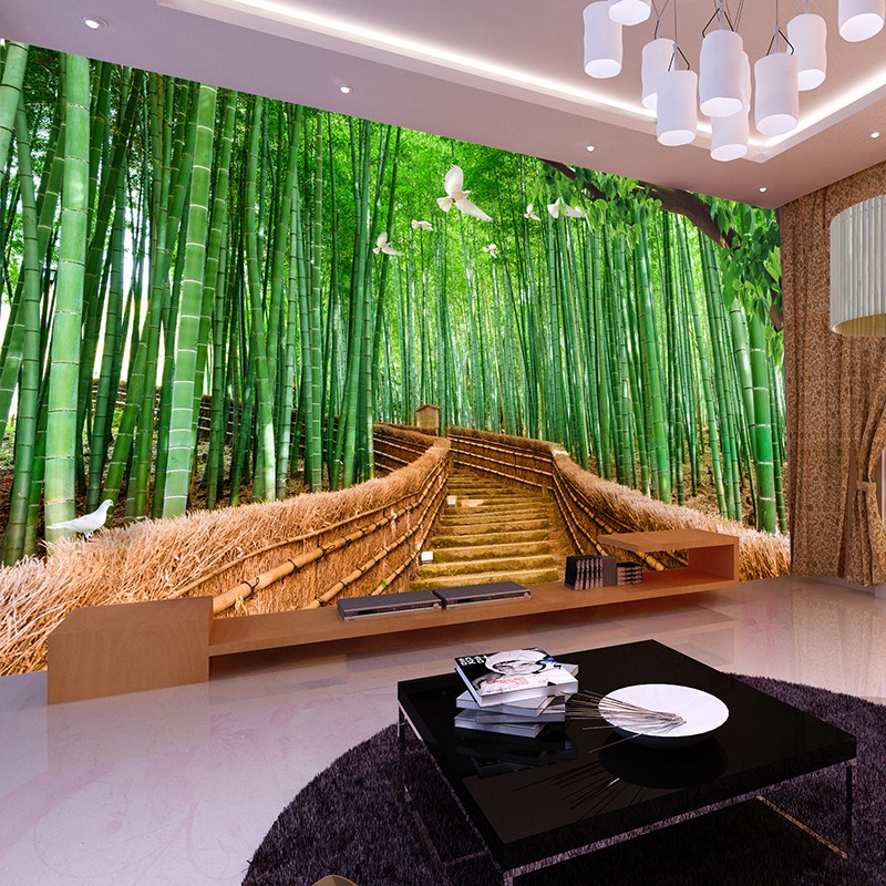 Beibehang tv backdrop papel de parede wall paper bedroom for Bamboo forest wall mural wallpaper