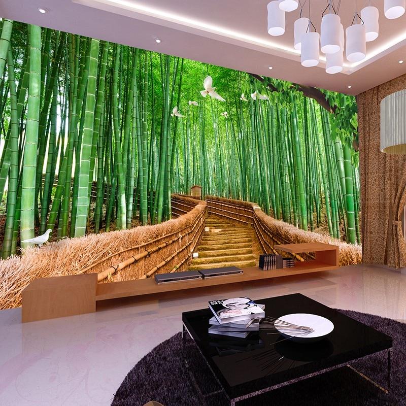Beibehang tv backdrop papel de parede wall paper bedroom for Bamboo wall mural wallpaper
