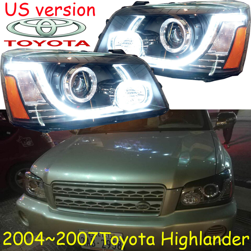 US Version!car-styling,highlander headlight,2004~2007Free ship!2pcs,highlander fog light;car-covers,chrome,highlander head light car styling highlander daytime light 2012 2014 free ship led chrome 2pcs set highlander fog light car covers highlander
