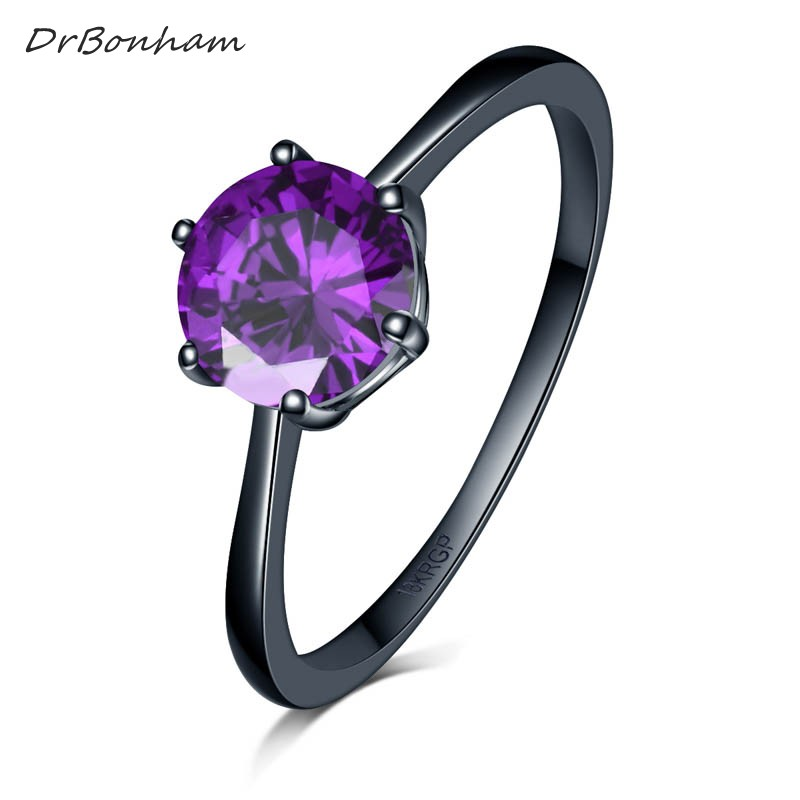 Charm Female Blue Fire Opal Heart Ring Elegant Purple Ring Black Gold Filled Jewelry Vintage Wedding Rings For Women DR1745