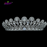 Clear Rhinestone Crystals Zircon Cluster Flower Tiara Crown Wedding SHA8627
