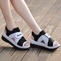 Sandálias plataforma Mulheres Sandálias Esporte Casuais Malha Respirável Sapatos de Verão Senhoras Sandálias Plataforma Cunhas Mulheres femme sandale