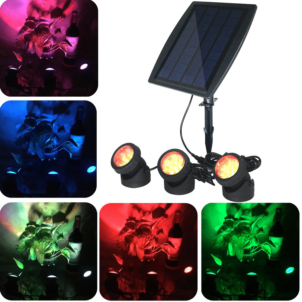 LED Solar Powered Underwater Light Solar Submersible Pond Spotlights with 3 Lamps 18 LEDs Landscape Spotlight