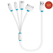 10pcs/lot Universal Portable USB 4 In 1 Charge Cable Multi Charger Cable for HTC Samsung Sony Xiaomi Huawei Iphone 4 4s 5 5s 6