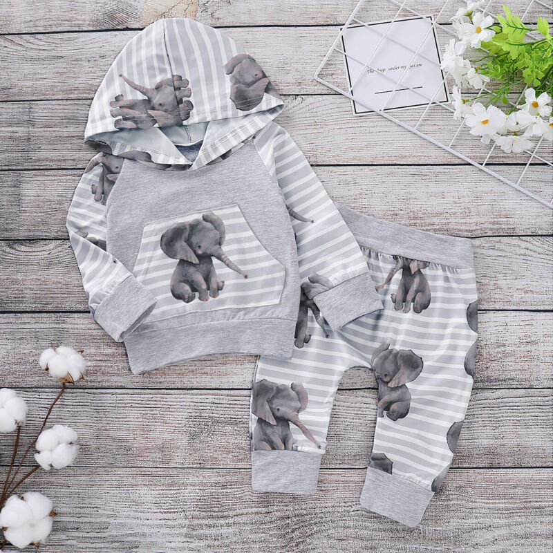 2019 <font><b>Autumn</b></font> Winter <font><b>Newborn</b></font> <font><b>Baby</b></font> <font><b>Girls</b></font> Boy Hooded Striped Elephant Printed Tops Pants Tracksuit Trousers Outfits <font><b>Clothes</b></font> Sets image
