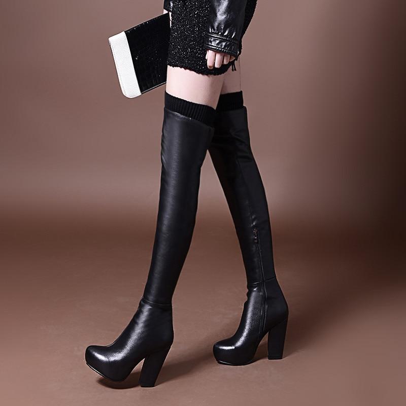 ENMAYER Over-the-knee boots hot! Autumn Winter Women Boots Sexy High Heel Women Long Boots Black Sexy Platform  Leather boots