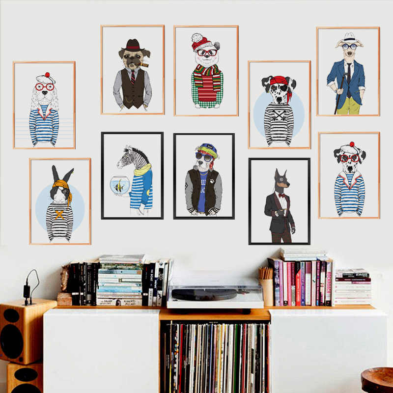 Cartoon Animals Clothes Fashion Show Canvas Art Print Poster Lovely Dog Panda Design Living Room Bedroom Cafe Shop Wall Picture
