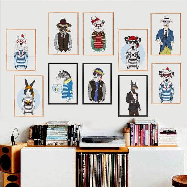 Frameless Modern Cartoon Chefs Canvas Prints Restaurant: Cartoon Animals Clothes Fashion Show Canvas Art Print