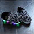 Niños Led Ligero Niños Zapatos Llevó Armadura de La Manera de la Zapatilla de deporte para Niños y Niñas Casuales Niño Luminosos Zapatillas de Deporte Zapatos de Deporte