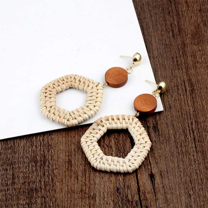 Geometric Wooden Straw Weave Women Beach Bohemian Circle Holiday Dangle Summer Drop Earrings Square Rattan Jewelry Earrings 6