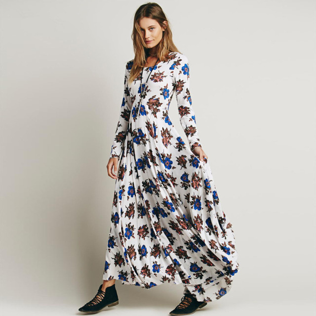 688ee8d253f0c US $22.8 5% OFF|Curiosity Fashion First Kiss Long Sleeve Floral Printed  Maxi Dress Plus Size V Nect Boho Women Dresses-in Dresses from Women's ...