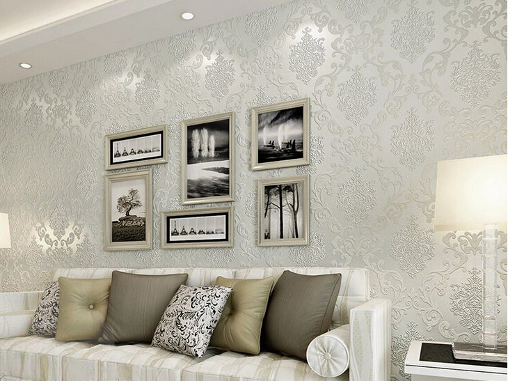 White And Silver Living Room Wallpaper