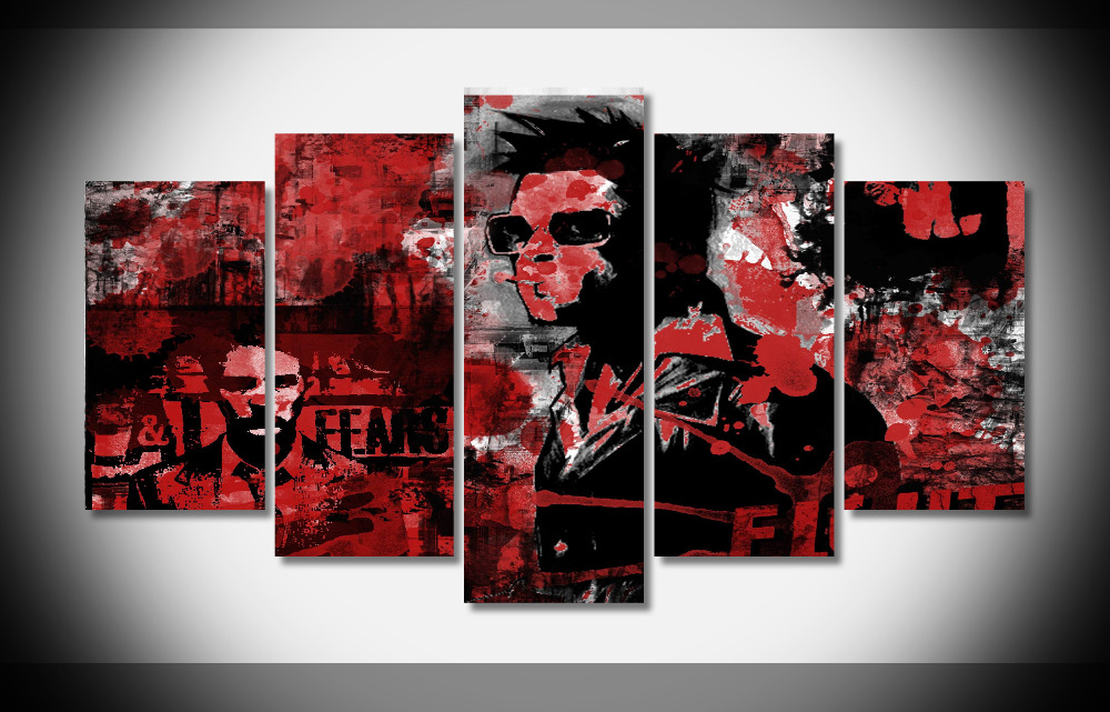 Fight Club Movie Star Silk Fabric Cloth Wall Poster Framed Gallery wrap art print home wall decor wall picture Already to hang