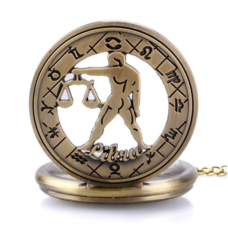 3e7cfb2b979 Birthday Gift Women Steampunk Libra Necklace Constellation Zodiac Pocket  Watch Astrology Men Relogio De Bolso-in Pocket   Fob Watches from Watches  on ...