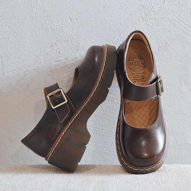 2019 ใหม่มาถึงสไตล์ญี่ปุ่น Vintage Mary Janes รองเท้าสตรีตื้นปากรองเท้าลำลองนักเรียนรองเท้าหนังหนาด้านล่าง