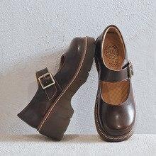 2019 nouveauté Style japonais Vintage boucle Mary Janes chaussures femmes bouche peu profonde décontracté étudiant en cuir chaussures fond épais