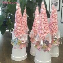 50pcs 유니콘 파티 분명 셀로판 포장 가방 사탕 가방 상자 팝콘 플라스틱 쉐 브 론 가방 생일 파티 웨딩 Decors