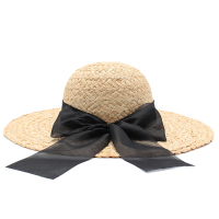 Tanworders women summer large brim beach hats natural raffia straw hat black bow knot sombrero mujer.jpg 200x200