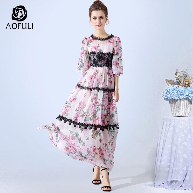 AOFULI L 3XL 4XL 5XL Pink Floral Printed Dress Bohemian Lace Patchwork Long Chiffon Dress Ankle