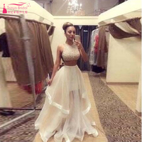 Beads Two Piece Homecoming Dresses Long Dress Sexy Prom Dress Irregular skirt Evening Gowns vestido longo Z285