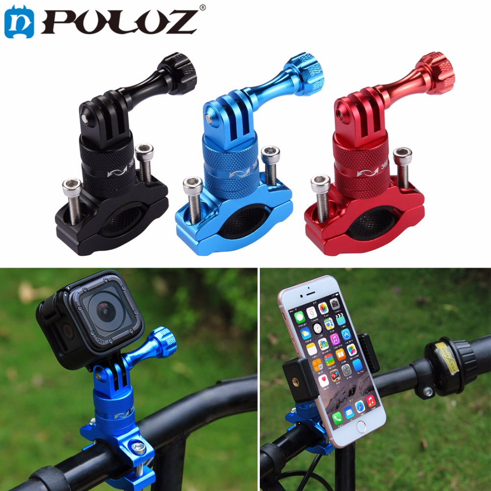 цена на PULUZ for Sport Camera Accessories Bicycle Aluminum Handlebar Adapter Mount for GoPro HERO5 Session /5 4 Session /4 /3+ 3 2 1