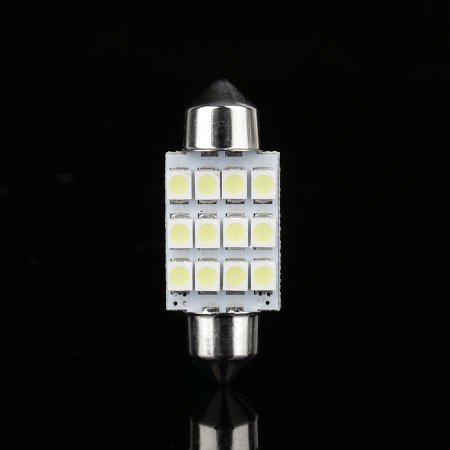 Холодный белый Светодиодный Автомобильная лампочка 31 мм фестон 12 SMD купольный карта интерьерная лампа для чтения светодиодный DE 3175