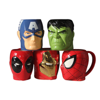 New Hot Cartoon Mug 4D Spiderman Captain America Iron Man Green Giant Ceramic Cup mug to send boyfriend gift