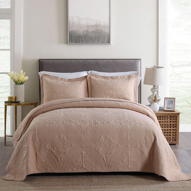 CHAUSUB Plain Soft Washed Cotton Quilt Set 3pcs Solid Embroidered Bedspread Quilted Bed Cover King Size