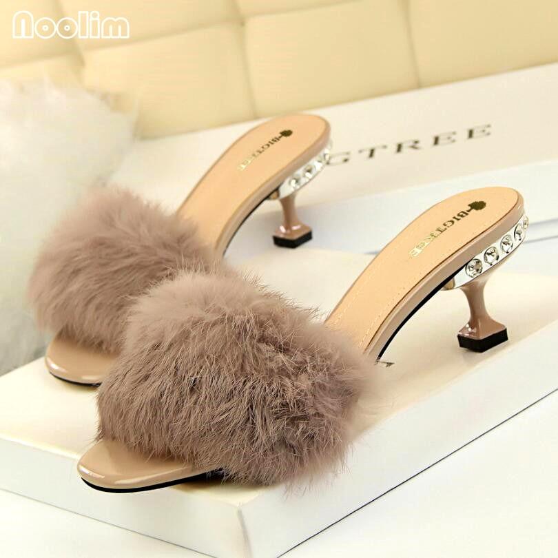 NOOLIM Fashion Elegant Women Slippers With Rabbit Fur Crystal High-heeled Women Sandals