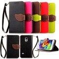 S5 caso luxuoso original vezes marca phone case leather flip para samsung galaxy s5, s5 mini carteira tampa do slot de cartão de moda