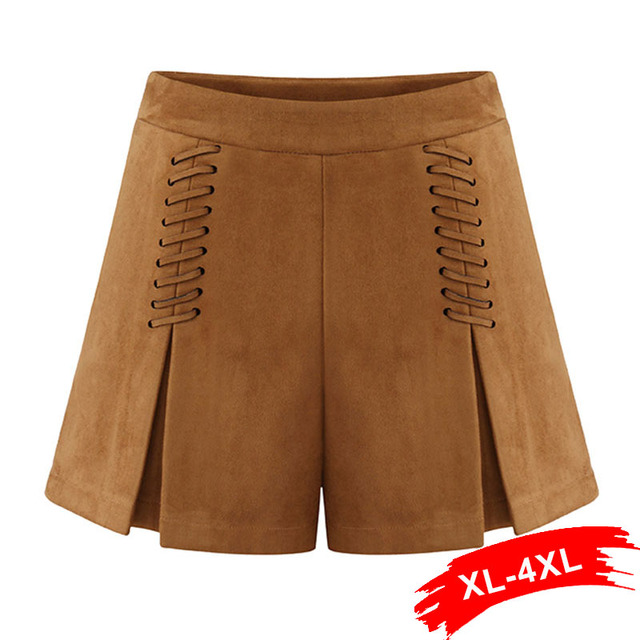 Autumn Lace Up Plus Size Leather Suede Shorts Pantskirt Xl 2Xl 3Xl 4Xl Winter 2017 Cross High Waist Shorts Zipper Split Bodycon