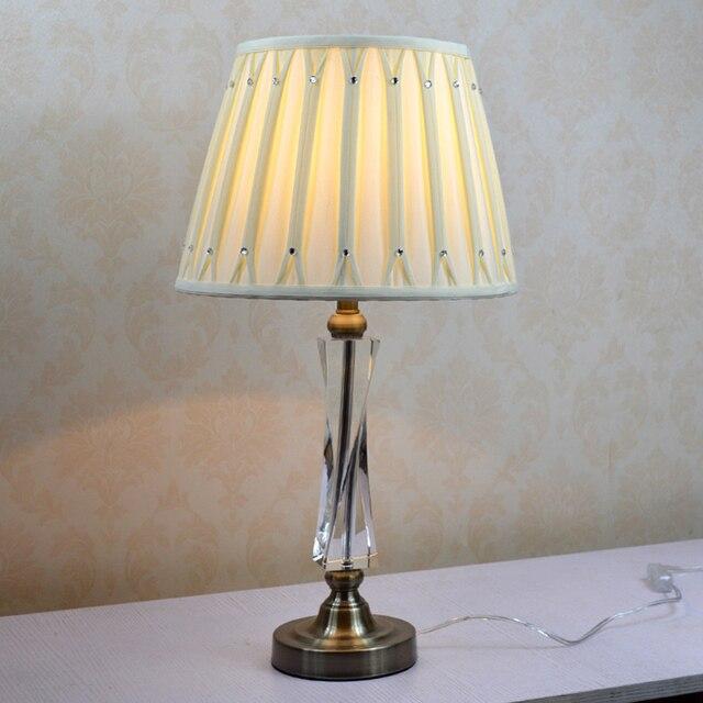 Simple modern luxury high-grade crystal table lamp bedroom post-modern style desk lights E27 socket fabric shades lighting