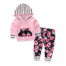Baby Girls Sets 2017 Autumn Cotton Flowers Printing Long Sleeve Hoodies Sweater Long Pants 2Psc Set Boys Girls Children Clothing